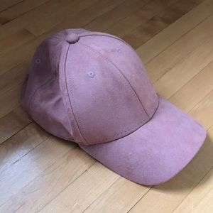 Accessories - Women's blush color baseball cap in faux suede.